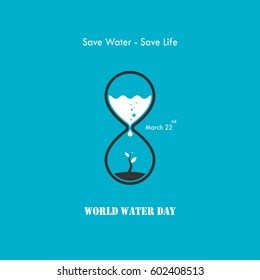 Water drop and sandglass icon with small tree icon vector logo design template.World Water Day icon.Vector illustration