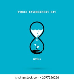 Water drop and sandglass icon with tree icon.World Environment day concept vector logo design.June 5st World Environment day concept.World Environment day Awareness Idea Campaign.Vector illustration