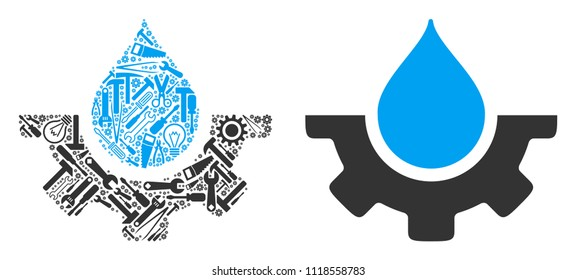 Water drop service cog mosaic of workshop instruments. Vector water drop service cog icon is made from gearwheels, spanners and other service items. Concept of mechanic workshop.