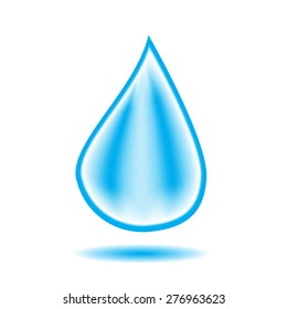 Water drop with shadow. Vector illustration.