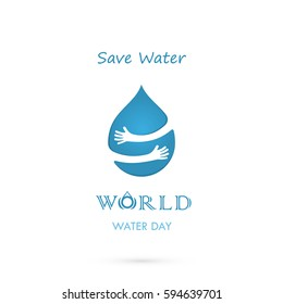 Water drop sign with human hand vector logo design template.World Water Day logo.World Water Day idea campaign for greeting card and poster.Vector illustration