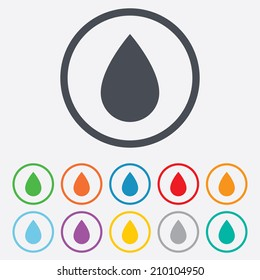 Water drop sign icon. Tear symbol. Round circle buttons with frame. Vector