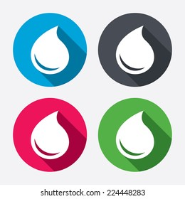 Water drop sign icon. Tear symbol. Circle buttons with long shadow. 4 icons set. Vector