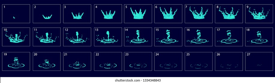 Water drop splashes animation. Water sprite sheet for game or cartoon or animation. Rain drop 2d classic animation. water flow effect. – Vector