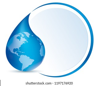 Water drop symbol with America