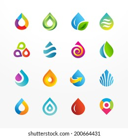 Water drop symbol vector icon set. Collection of colorful signs. May be used in ecological, medical, chemical, food and oil design.