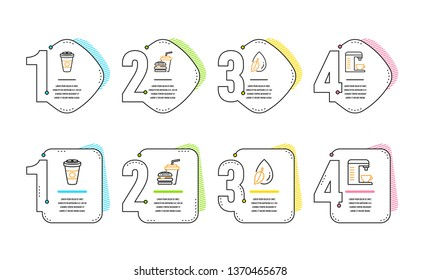Water drop, Takeaway coffee and Hamburger icons simple set. Coffee machine sign. Mint leaf, Hot latte drink, Burger with drink. Cappuccino machine. Food and drink set. Infographic timeline. Vector