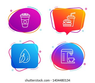Water drop, Takeaway coffee and Hamburger icons simple set. Coffee machine sign. Mint leaf, Hot latte drink, Burger with drink. Cappuccino machine. Food and drink set. Speech bubble water drop icon
