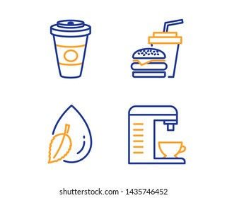 Water drop, Takeaway coffee and Hamburger icons simple set. Coffee machine sign. Mint leaf, Hot latte drink, Burger with drink. Cappuccino machine. Food and drink set. Linear water drop icon. Vector