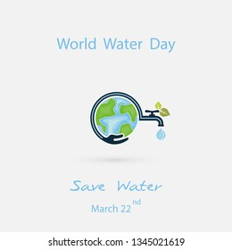Water drop &water tap with human hand icon.Blue globe &hand icon vector logo design template.World Water Day icon.World Water Day idea campaign concept for greeting card & poster.Vector illustration