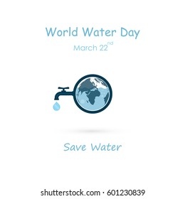 Water drop and water tap icon with Globe icon vector logo design template.World Water Day icon.World Water Day idea campaign concept for greeting card and poster.Vector illustration