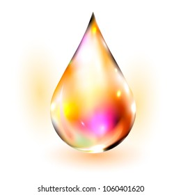 Water drop vector illustration. Clean water drop isolated on white. Falling water drop. Vector water drop.