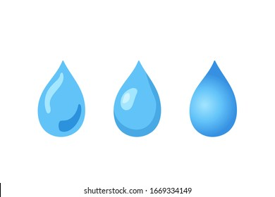 Water drop vector illustration set isolated on white background. Abstract blue liquid sign in flat design. Freshness symbol hand drawn sketch. Raindrop, drinking water, shower, moisturizer concept.