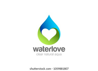 Water droplet Heart inside Logo design vector template. Love mineral natural aqua drop drink Logotype. Waterdrop concept icon.