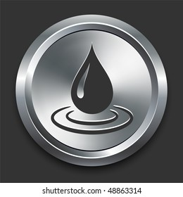 Water Droplet Icon on Metal Internet Button Original Vector Illustration