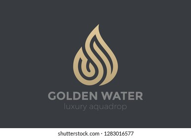 Water Droplet Logo Gold Drop design vector template Linear style. Luxury Jewelry Aqua Symbol Fire Flame Logotype concept icon.