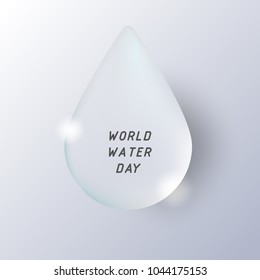 Water droplet on white gradient background with text, vector illustration. World water day.