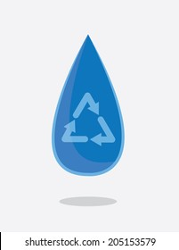 Water droplet with recycle symbol