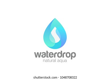 Water droplet shape abstract Logo design vector template. Natural Mineral Aqua Waterdrop Cosmetics SPA Logotype. Drop wave icon.