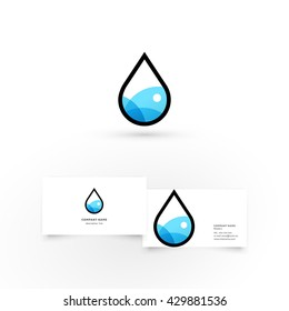Water drop.Modern icon design logo element with business card template. Best for identity and logotypes.