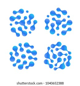 Water drops, abstract h2o liquid vector icon set. Purified distilled water logo. Air humidity illustration.