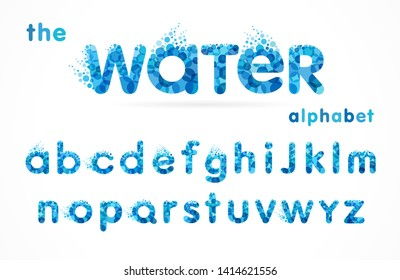 Water drops font, funny blue alphabet, letters and waves. Mineral natural water vector abc icon design