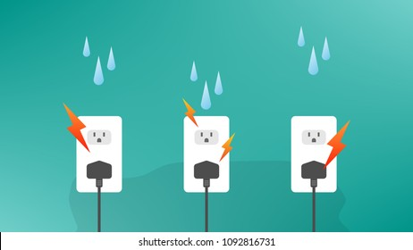 Water drops into the outlets, causing a short circuit and damaged or dangerous.