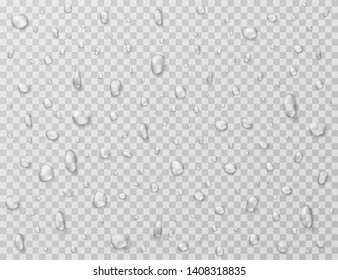 Water drops isolated. Rain drop splashes, droplets on glass transparent window. Raindrop vector texture