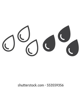 Water drops line icon, outline and filled vector sign, linear and full pictogram isolated on white. Rain symbol, logo illustration