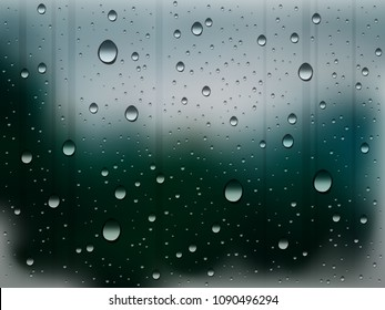 water drops on glass during rain, abstract rainy weather vector background
