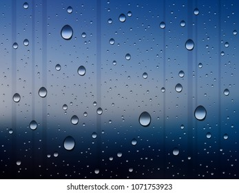 water drops on glass on rainy evening, abstract vector background, shades of blue