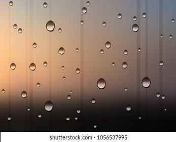 water drops on window after rain, sunset background vector