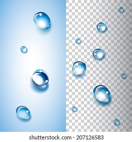 Water drops with transparency. Each water drop is grouped and can overlay an object or a picture to give a water drop effect.