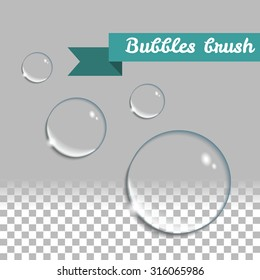 Water drops vector set. Transparent bubbles brush. Round realistic pure clear bubbles. Vector design elements set. Isolated aqua drops.