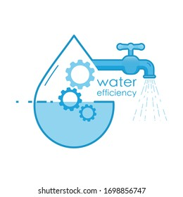 Water efficiency. Management of water resource to optimize uasge. Vector illustration outline flat design style.