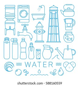 Water Elements Set In Thin Line Style. Vector Illustration With Symbols.