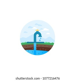 Water extraction. Conventional drilling. Earth layers. Water well drilling vector illustration diagram with derrick