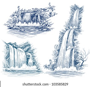 Water falls vector drawing