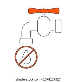 Water Faucet With Dropping Water Icon. Thin Line With Red Fill Design. Vector Illustration.