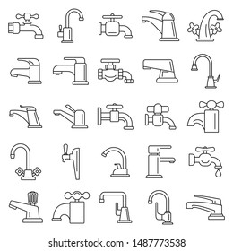 Water faucet icons set. Outline set of water faucet vector icons for web design isolated on white background