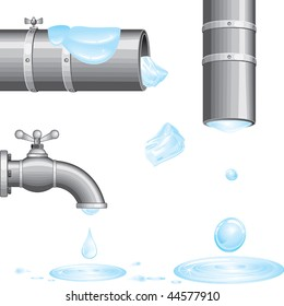 Water from faucet and pipes.Isolated vector