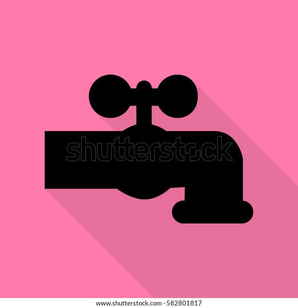 Water faucet sign illustration. Black icon with flat style shadow path on pink background.