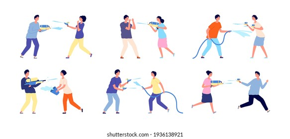 Water festival. People playing splashes, celebrate songkran fest. Happy summer games, woman man watering other from gun and bowl utter vector set