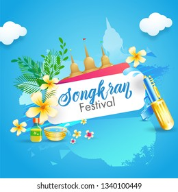 Water Festival of Songkran poster or flyer design with illustration of different festival element on sky blue background.