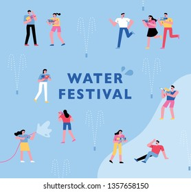 Water festival in summer. flat design style minimal vector illustration