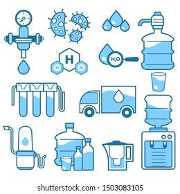 Water fildtration system, cleaning supply and industrial purification to drink isolated vector icons. Cooler and pipes, rain drops and chemicals, teapot. Plastic container, faucet, pipeline and sewage