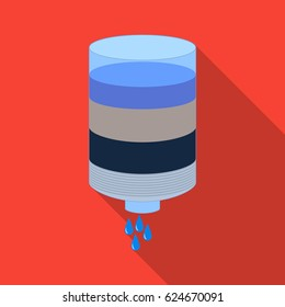 Water filter cartridge icon in flate style isolated on white background. Water filtration system symbol stock vector illustration.