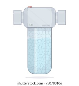 Water filter. Icons filtering. Realistic illustration in a cartoon style.