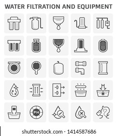 Water filtration and equipment such as strainer, pe pipe, wrench, pressure tank, pipe connector, filter cartridge, clean water, uv light, disease, ph test and drinking vector icon set design.