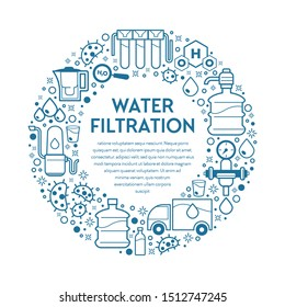 Water filtration, filtering clean drink in bottle and filtered or purified liquid, filters vector. Mineral filtration or purification to clear aqua. Cleaning or purifying home or industrial supplies